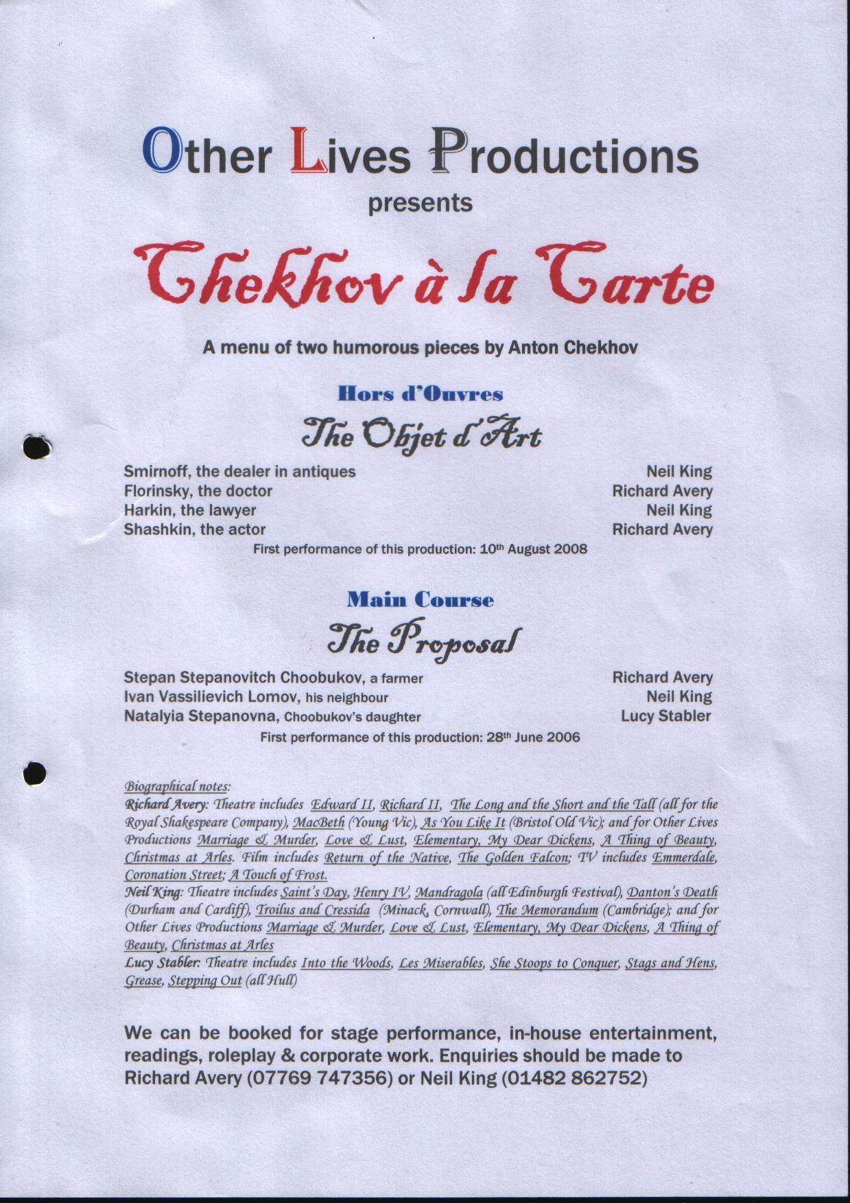 chekhov-a-la-carte-programme